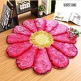 Cheap Ustide Modern Floral Rug Pink Rug for Girls Room Solid Color Area Rug 3D Flower Design Rug Soft Shaggy Floor Mat