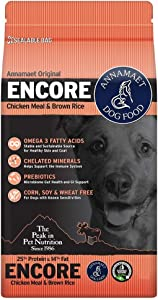 Annamaet 25% Protein 14% Fat Encore Formula Dry Dog Food, 12 Pounds, for Active Dogs and Puppies
