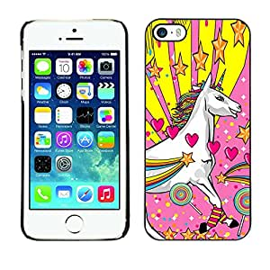 Caucho caso de Shell duro de la cubierta de accesorios de protección BY RAYDREAMMM - Apple iPhone 5 / 5S - Unicorn Dreamworld Colorful Art White Heart Star