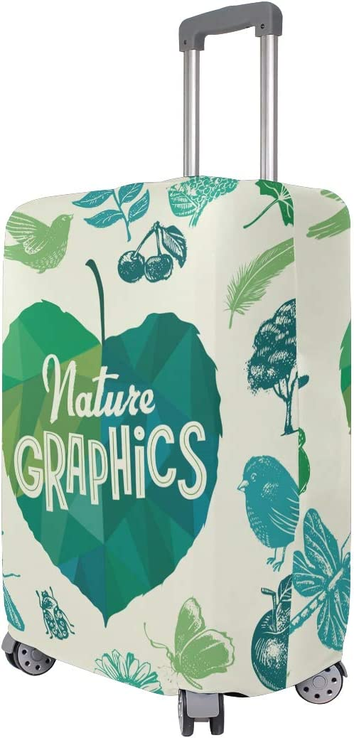FOLPPLY Nature Patten Foral Leaves Print Luggage Cover Baggage Suitcase Travel Protector Fit for 18-32 Inch
