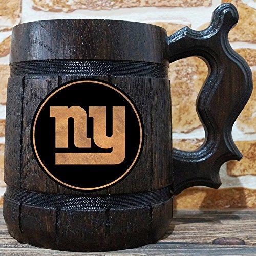 New York Giants Beer Mug, American Football Wooden Beer Stein, Sport Gift, Personalized Beer Stein, New York Giants Tankard, Custom Gift for Men, Gift for Him (York New Giants Mug)