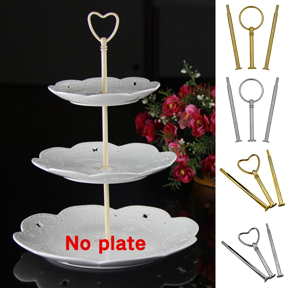 3-Tier Cake Stand Rods Cupcake Plate Display Holder Handle Fittings Hardware Rod Dessert Plate Stand Handle for Tea Shop Room Hotel(round,silver) by YOTHG (Image #4)