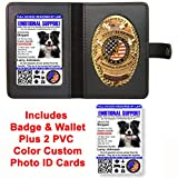 Emotional Support Dog Badge & Leather Wallet with 2 Custom Photo ID's & Registration on US Service Dog Registry