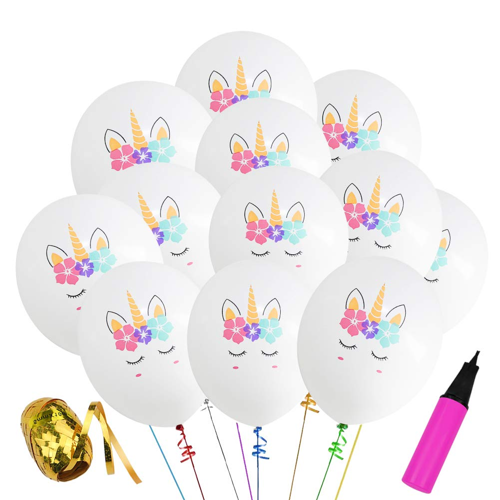 30 Pcs Unicorn Birthday Balloons White and Pink Unicorn Balloons for Unicorn Theme Party, Kids Birthday Party, Baby Shower, Festival Party Decorations (White & Pink) Aiernuo