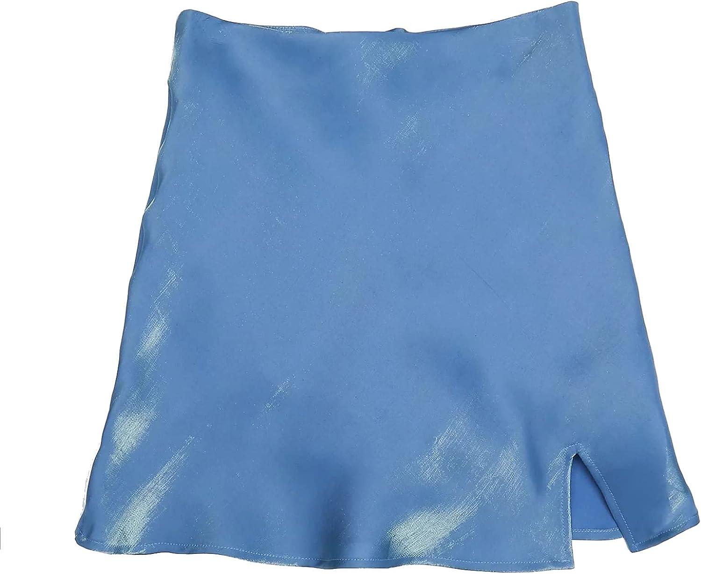 Falda con Volantes para Mujer, Color sólido, Moda Suave, Cintura Alta, Falda Corta, Abertura Lateral, Minifalda de Fiesta de Cintura Alta