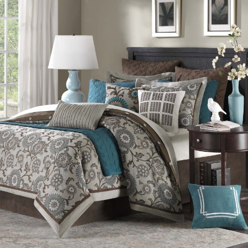 Hampton Hill Bennett Place Polyester Jacquard 9-Piece Comforter Set, Queen, (Hampton Comforter Set)