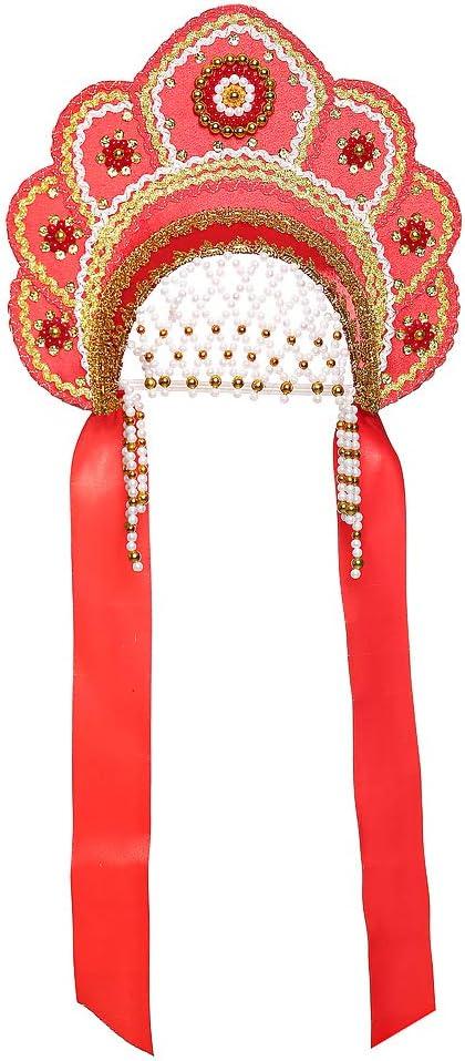 Disfraz tradicional ruso de Kokoshnik Elena rojo # 391: Amazon.es ...