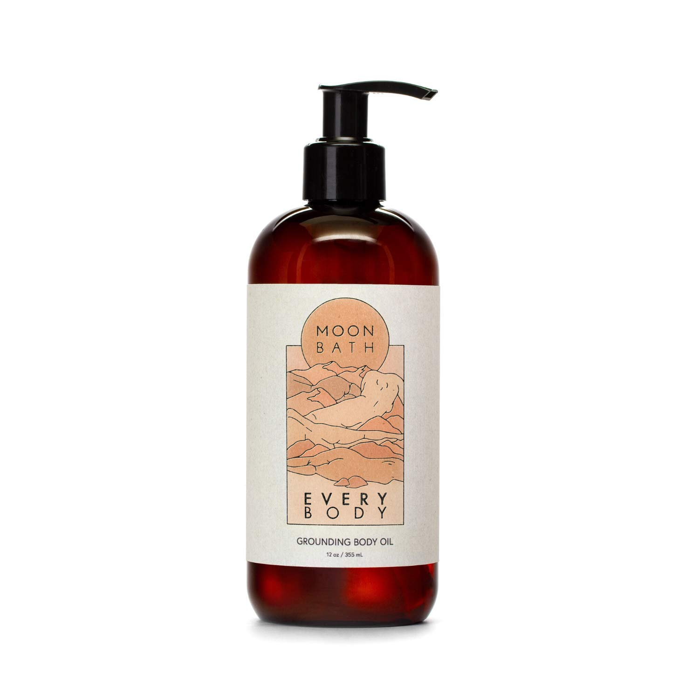 EVERY BODY Grounding Body Oil | Sunflower, Jojoba, Marula & Moringa Oils combined w/Sandalwood & Cypress to Calm, Nourish & Restore Skin. Organic & Clean Beauty. No Synthetic Fragrance, 12 oz.