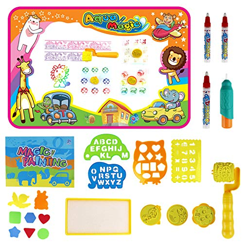 Feiboo Large Size Water Doodle Mat for Kids Toy Gift Aqua Drawing Mat Toddler Painting Board Size 34 X 22.5 with 4 Magic Pens, 1 Magic Brush, and Drawing Accessories