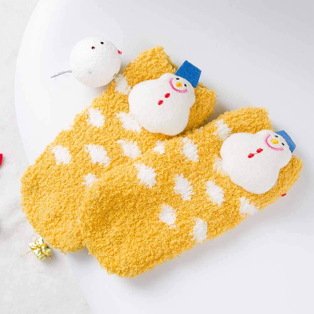 Yellow Children Pattern, 1-5 Years Old BESTOYARD 3D Snowman Socks Coral Fleece Skid Resistance Socks Cute Socks for Baby Kid Infant