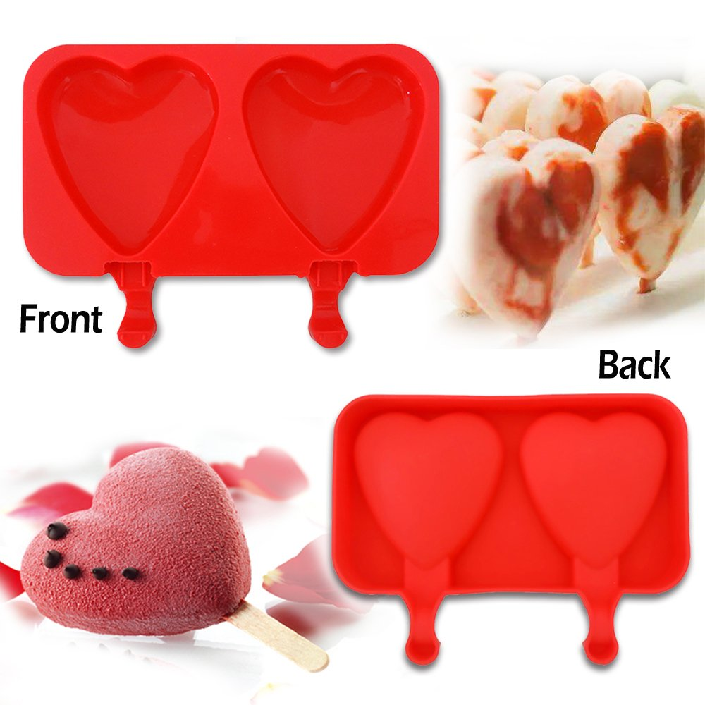 Silicona ICE POP moldes, IC ICLOVER sin BPA aprobado por la FDA 2 Cavidades, diseño de hielo POP Mold DIY Ice Cream Bar molde reutilizable Popsicle Maker, ...