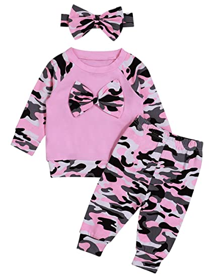 bf8eaec05cfbf Baby Girl Clothes Long Sleeve Bow Top + Camouflage Pants with Headband  Outfits Set
