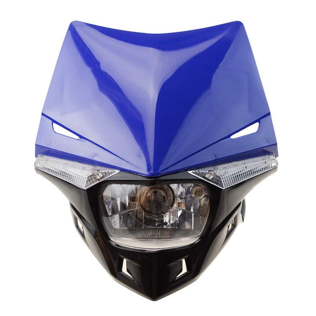 GOOFIT Black H4 LED Universal 12V 35W Motorbike Headlight 2 Indicators lights Supermoto Motocross Approved Cover Halogen Indicator Fairing Lampshade lights Dirt Bike