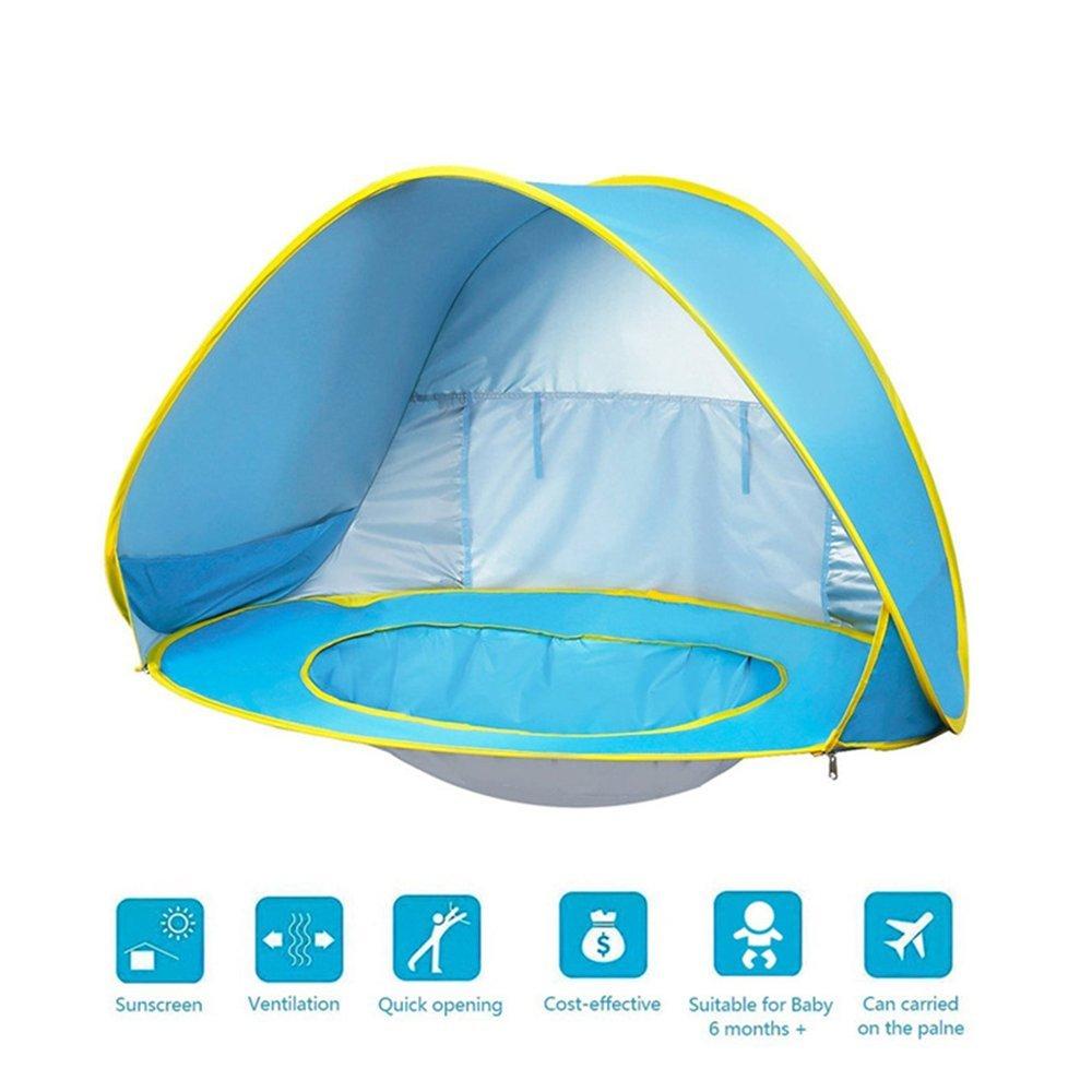 BulzEU Outdoor Automatische Pop up Baby Strand Zelt Portable Cabana Schatten Planschbecken Baby Zelt Sun Shelter UV-Portection Baby Pool Blau Farbe