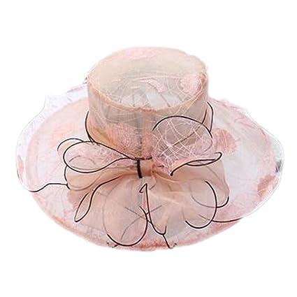 ebf32b5a8900a LOVEHATS Elegant Fashion Women s Lace Church Hats Flower Hat Summer Gorras  Sun Hat Wedding Wide Brim