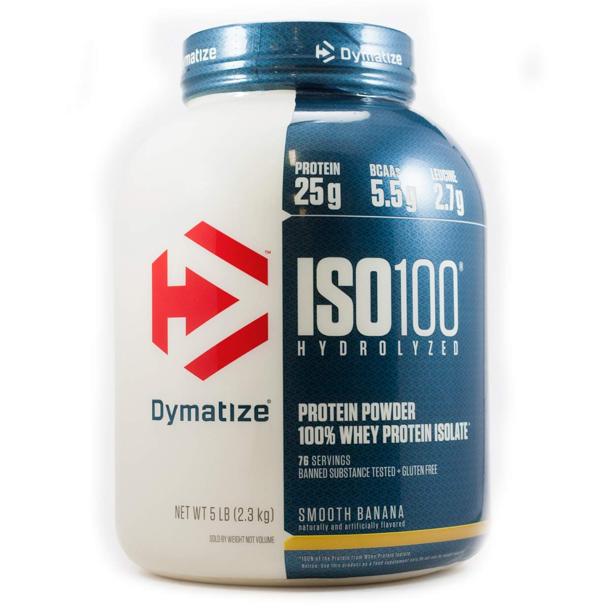 Dymatize ISO 100 Whey Protein Powder with 25g of Hydrolyzed 100% Whey Isolate, Gluten Free, Fast Digesting, Smooth Banana, 5 Pound by Dymatize