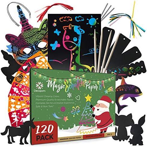 Decopom Kids Rainbow Scratch Paper Art – 120 Set Cool Black Scratch Off Art Drawing Supplies Kit for Kids – Boy or Girl Popular Crafts for Children Teenagers Adults Activities