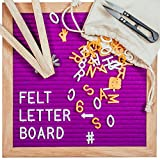Letter Board, Message Board with Purple Felt Backing, 340 Letters, Premium Wooden Frame, Pair of Scissors & Wooden Stand, Home, Office & Special Occasions, 10 X 10 inches by Sky'Co