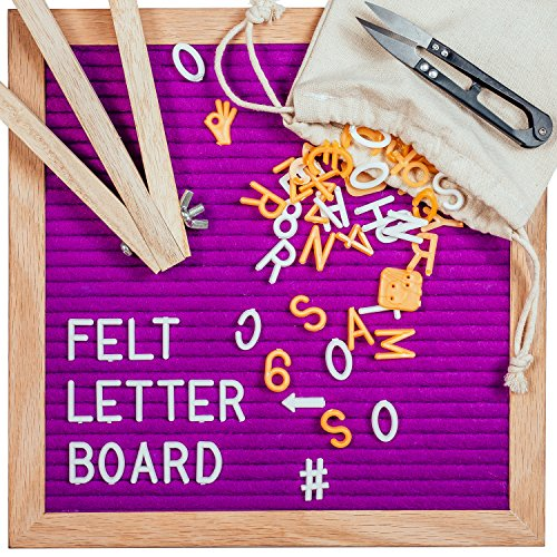 Letter Board, Message Board with Purple Felt Backing, 340 Letters, Premium Wooden Frame, Pair of Scissors & Wooden Stand, Home, Office & Special Occasions, 10 X 10 inches by Sky'Co by Sky'Co