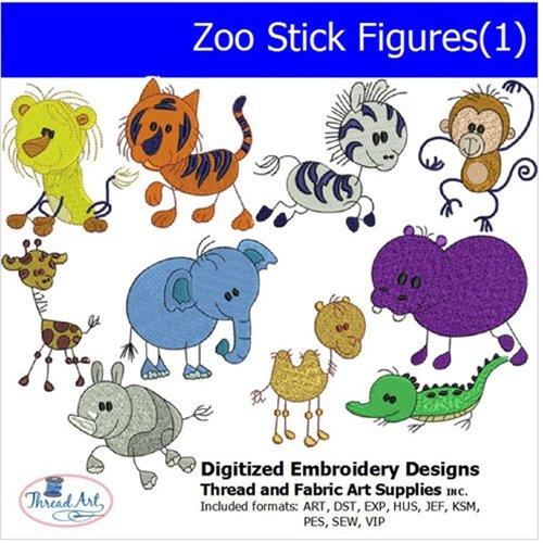 Threadart Machine Embroidery Designs - Zoo Stick Figures(1) - USB ()
