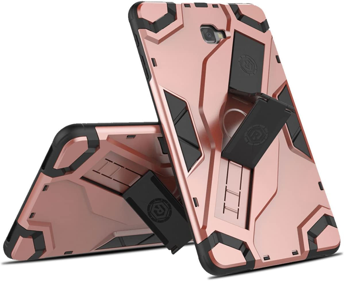 FastSun Samsung Galaxy Tab A 10.1 Case, Heavy Dual Armor Protective Shockproof Hybrid Rugged Hard Case with Extendable Kickstand & Strap Holder For Samsung Tab A 10.1 SM-T580 / T585 / T587 (Rose Gold)