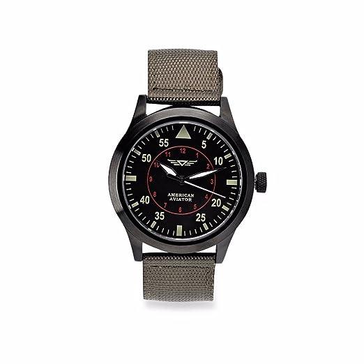 2a9e6abaf American Aviator ASOTV Men's Quartz Metal and Nylon Casual Watch Green Band