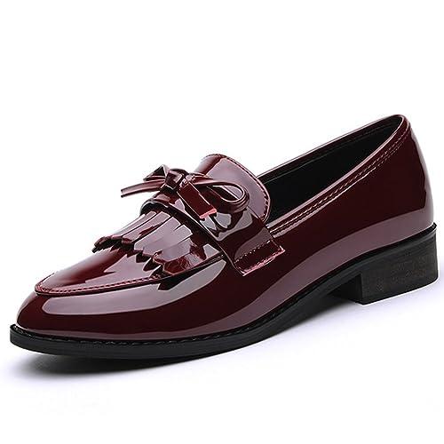 VETAER - Mocasines de charol para mujer, color Rojo, talla 35 EU: Amazon.es: Zapatos y complementos