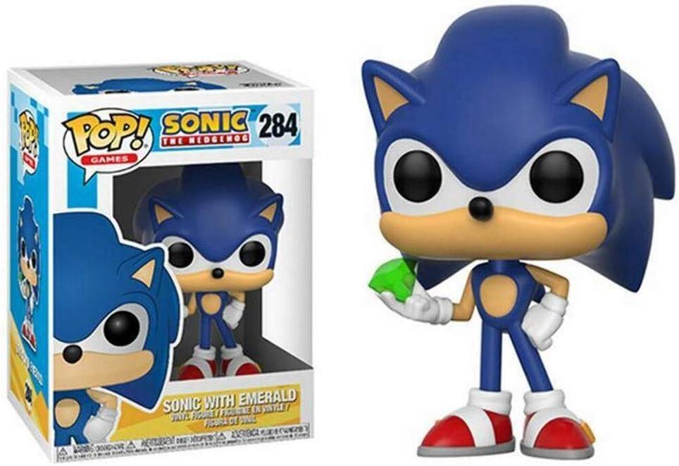 YGZ Pop Figuras Juegos: Sonic The Hedgehog: Sonic con Esmeralda (Azul) muñeca del PVC Figue Adornos Colección decoración 10cm Birthday Present