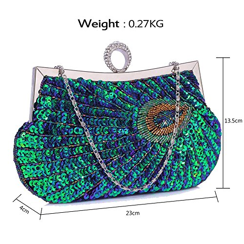 Gorgeous Peacock Party DELIVERY FREE Sequin UK Feather Bag Green Clutch Evening Design rwEqr4