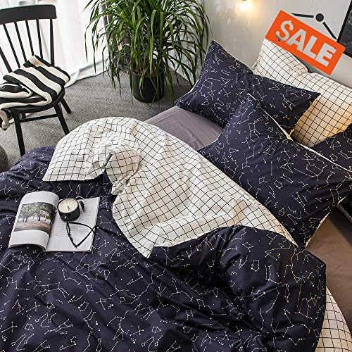 Kid Bedding Collection - VClife Cotton Bedding Duvet Cover Sets Bedding Collection Queen/Full Luxury Soft Child Constellation Printed Bedding Quilt Cover Sets with Zipper Closure Corner Ties Lightweight Plaid Bed Sets