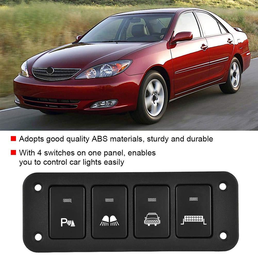 Aramox Panneau de commutateur de voiture feux de bande de voiture Phares de faible faisceau de phares 4 panneaux de commutateurs de voiture