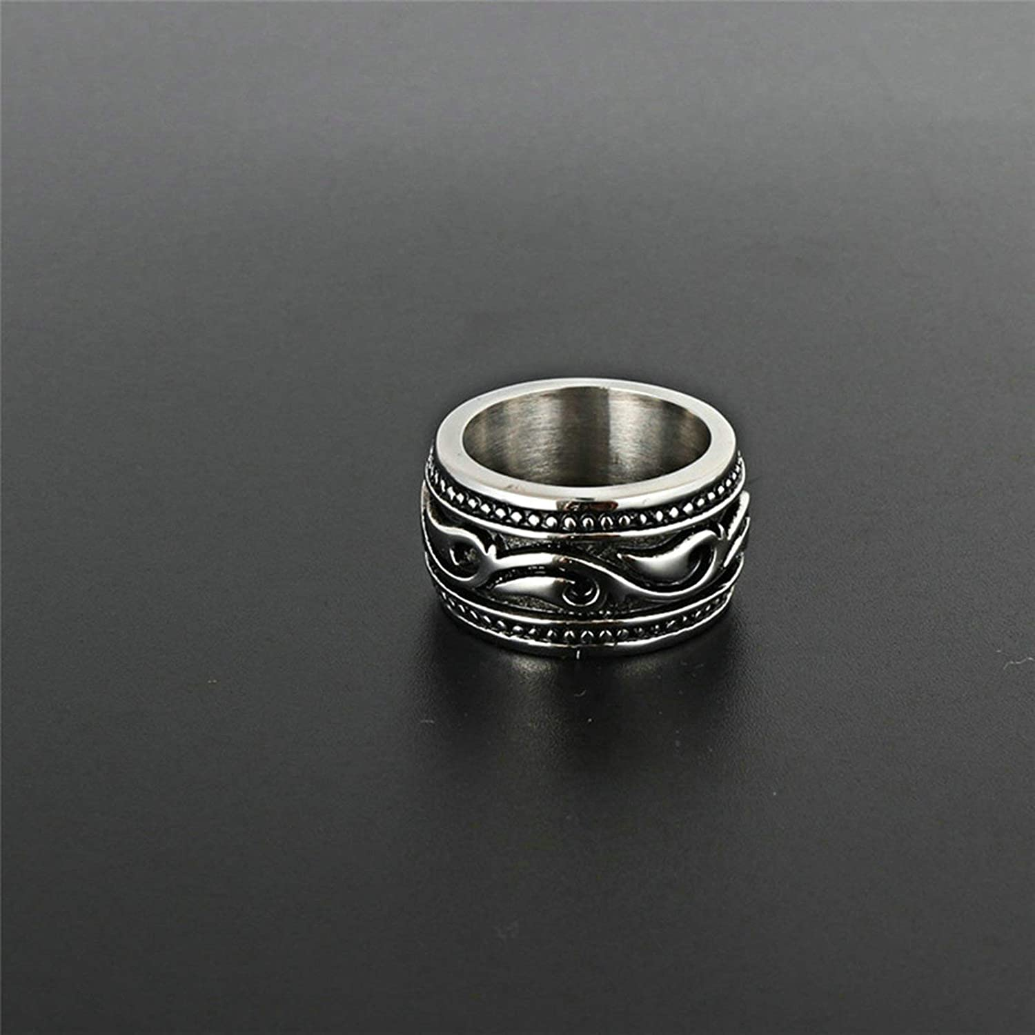 Aooaz Stainless Steel Class Rings Wave Shaped Finger Ring for Boy