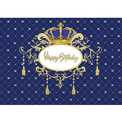 Allenjoy Royal Blue and Gold Happy Birthday Photo Backdrop Kids Boy 1st Bday Party Cake Table Wall Decoration Banner Crown Celebration Little Prince Photo Booth Background 7x5ft Photoshoot Props
