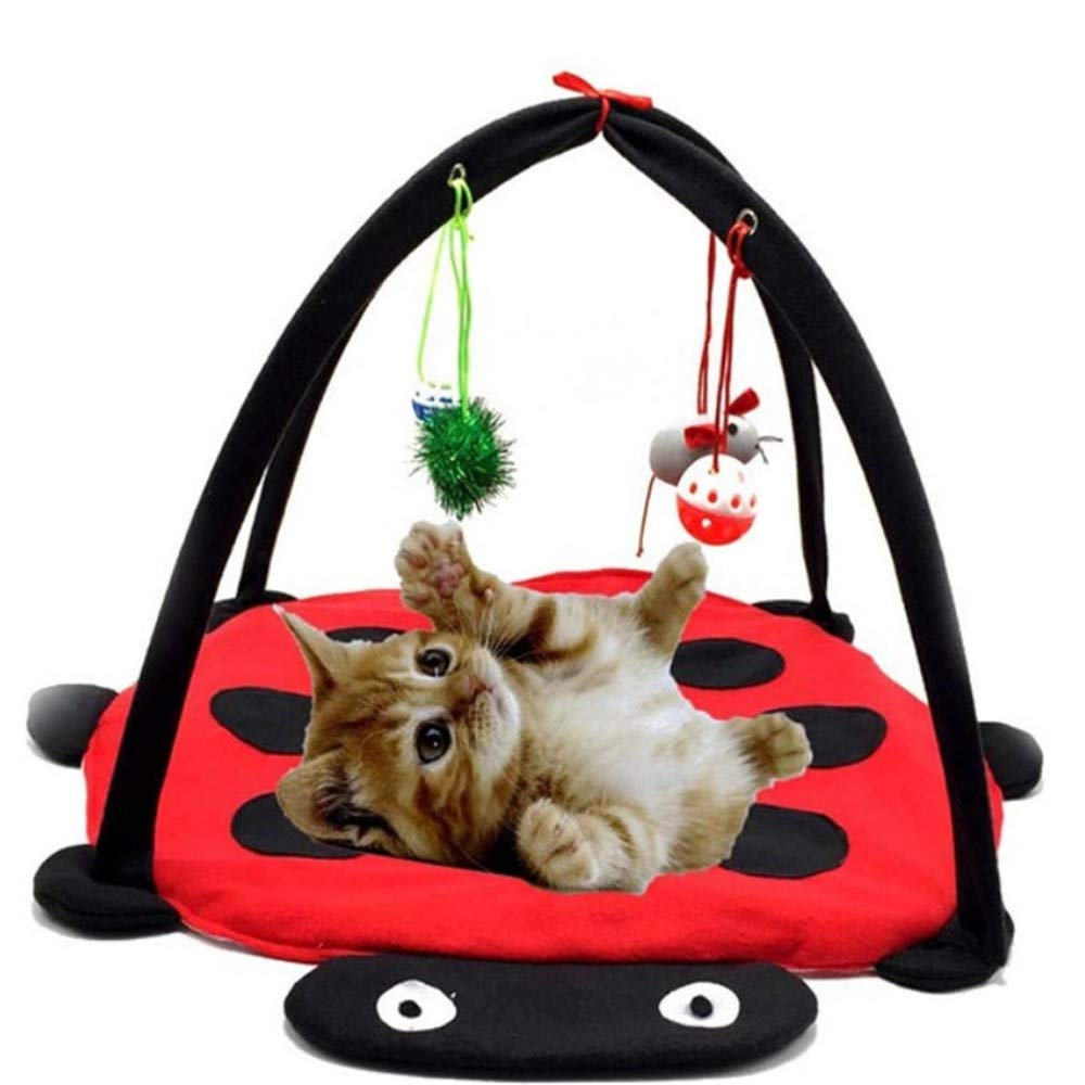 B Wuwenw Multifunctional Cat Activity Playing Tent Cat Bed Pad Mat With Hanging Educational Toys Fun Foldable Kitten Pet Play Scratch Bed 60X60X34Cm,B