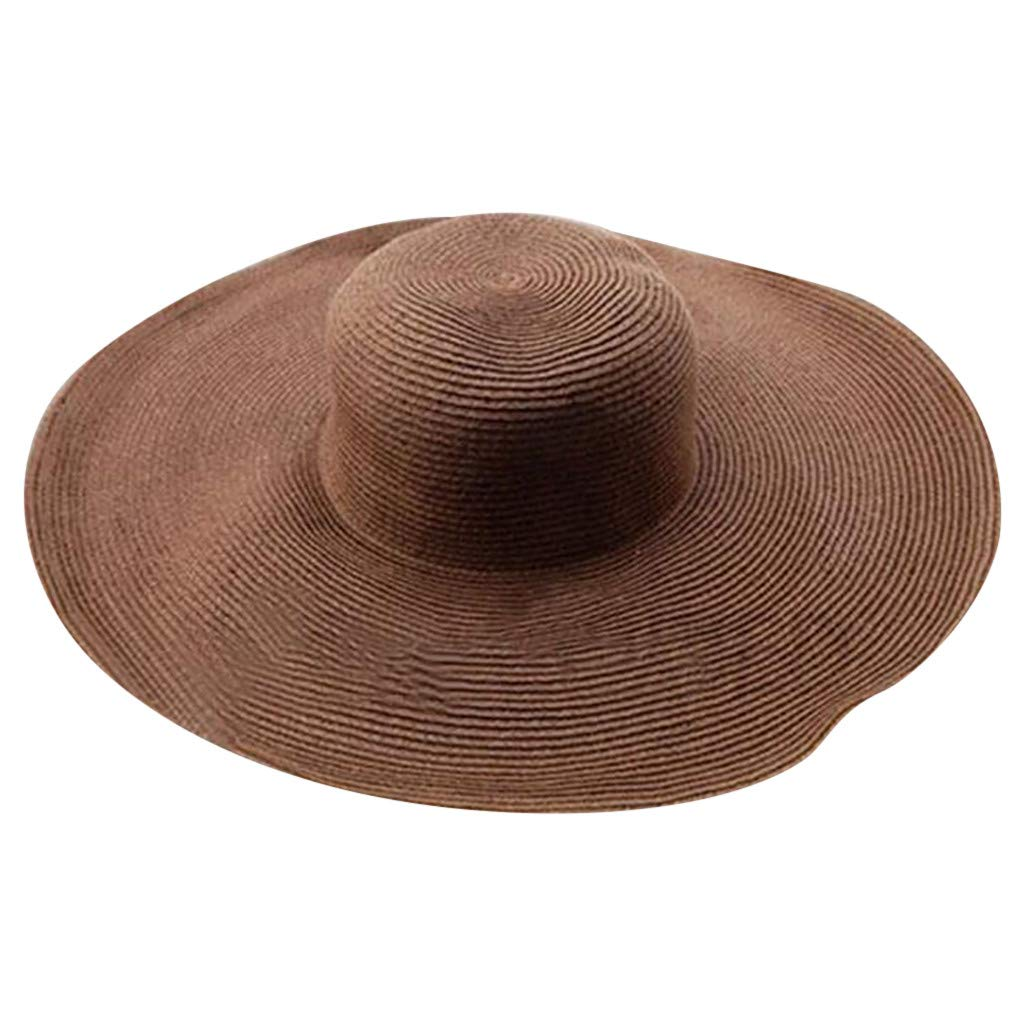 ✿✿Ratoop✿✿Women Solid Color Big Brim Straw Hat Sun Floppy Wide Brim Hats Beach Cap
