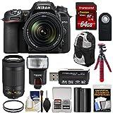 Nikon D7500 Wi-Fi 4K Digital SLR Camera with 18-140mm VR & 70-300mm VR DX AF-P Lens + 64GB + Battery + Backpack + Filters + Tripod + Flash Kit