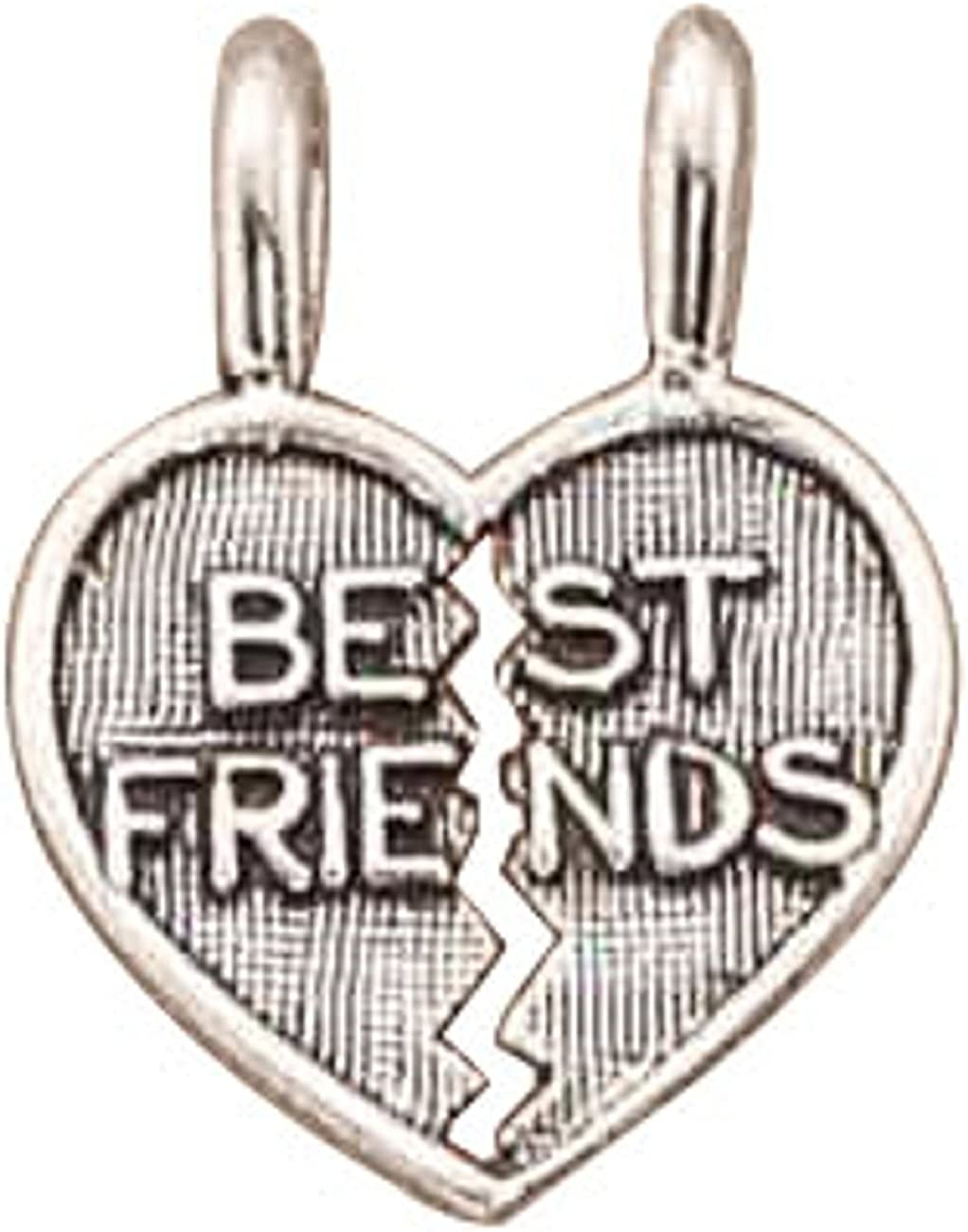 Sterling Silver Girls .8mm Box ChainWe Are Best Friends Three Piece Shareable Pendant Necklace
