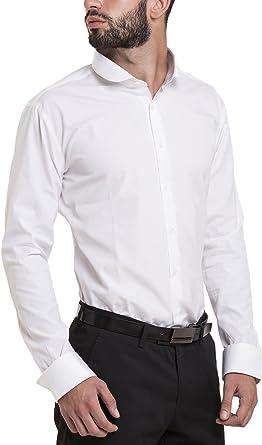 Atelier Boldetti - Camisa de hombre con cuello redondo, slim fit.