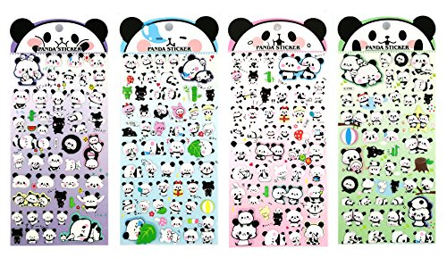 SET047-PANDA - 4 Sheets Lovely Panda Family Reusable Puffy Stickers, Size 3.5 X 7.5 Inch./sheet