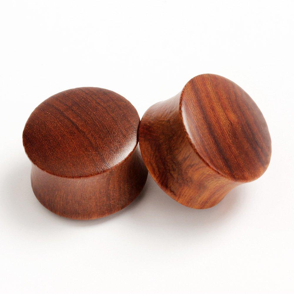 KUBOOZ Wooden Design Ear Expander Black/brown Solid Color Plugs Ear Piercing Gauge Size 8-25mm LA075