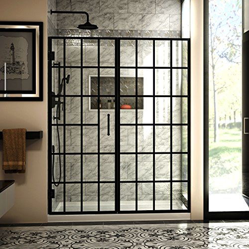 DreamLine Unidoor Toulon 58-58 1/2 in. W x 72 in. H Frameless Hinged Shower Door in Satin Black, SHDR-2458720-89 ()