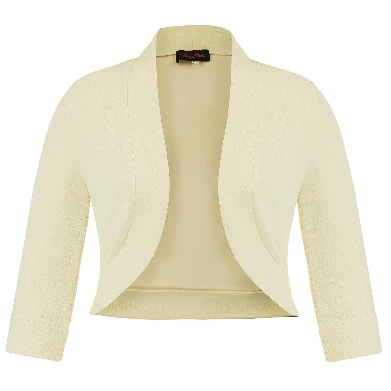 Hanna Nikole Women Plus Size 3/4 Sleeve Open Front Cardigan Cropped Bolero Shrug