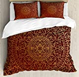 Maroon Queen Size Duvet Cover Set by Ambesonne, Antique Arabic Artwork Oriental Mandala Inspired Round Ornament Moroccan Ethnic, Decorative 3 Piece Bedding Set with 2 Pillow Shams, Gold Maroon