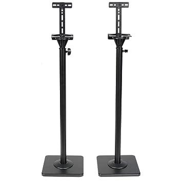 VideoSecu One Pair Height Adjustable Speaker Stands Mounts Heavy Duty Floor Surround Sound Satellite Small