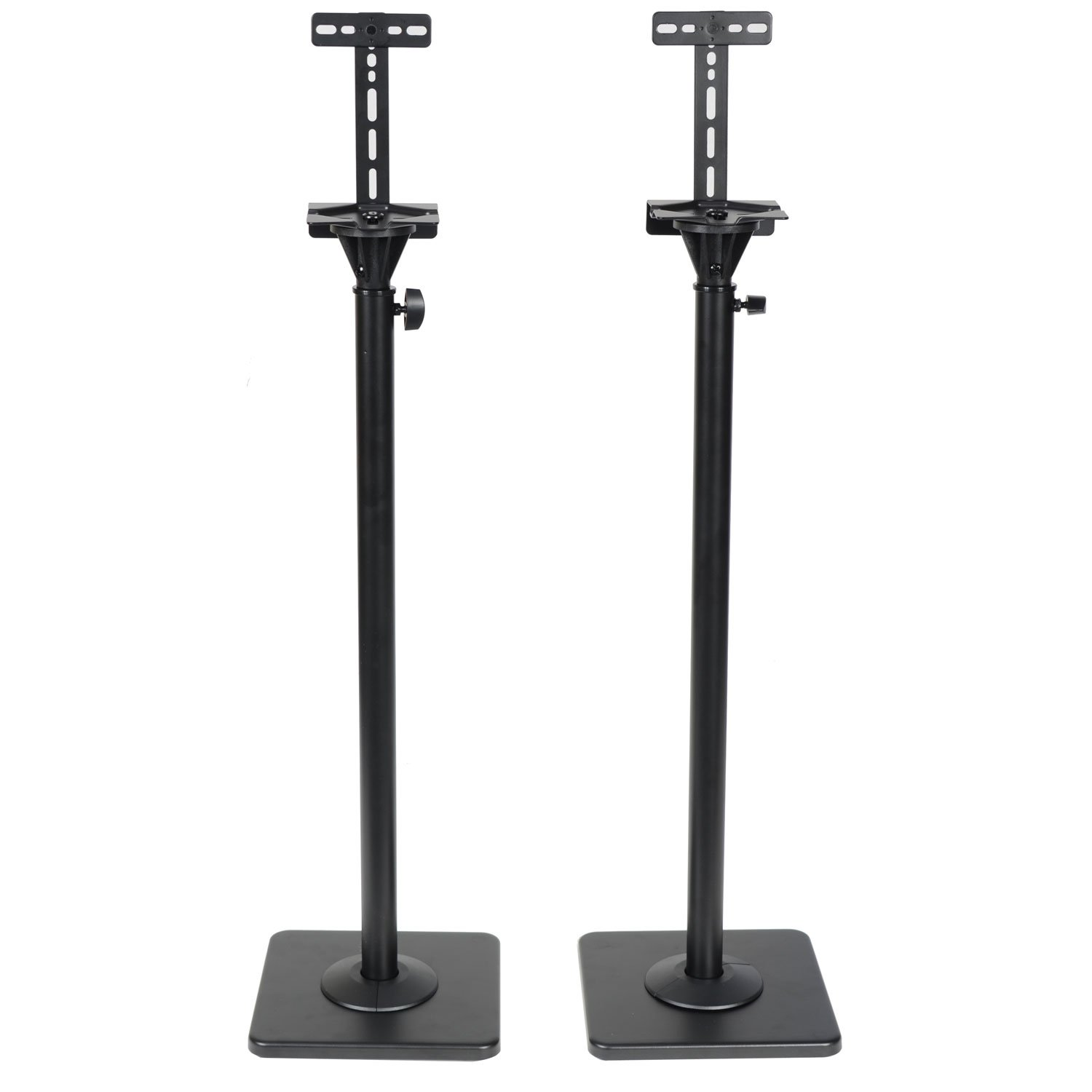 VideoSecu One Pair Height Adjustable Speaker Stands Mounts Heavy Duty Floor Stands Surround Sound Satellite Small Bookshelf Speakers Stand MS08B DA8