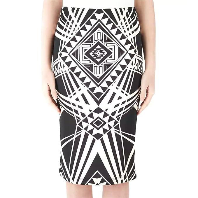 27f965982265a IZ Byer Juniors Scuba Midi Pencil Skirt, Black/Off White XS at ...