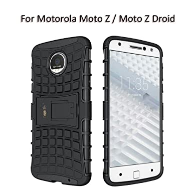 Heartly Rugged Shock Proof Tough Armor Back Case For Motorola Moto Z / Moto Z Droid   Rugged Black Mobile Accessories