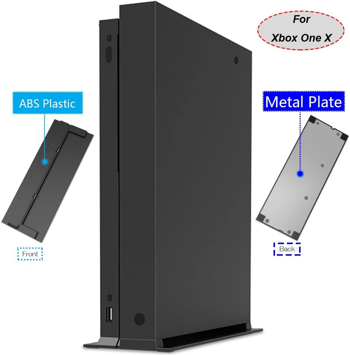 Whiteoak Vertical Stand for Xbox One X with ABS Platic Front + Metal Bottom Plate & 4X Non-Slip Rubber Pad(Metal Bottom Plate)