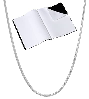 Other Fine Necklaces, Pendants Jewelry & Watches Pure 1.2mm 925 Sterling Silver 8 Sided Cut Snake Chain Necklace made in italy