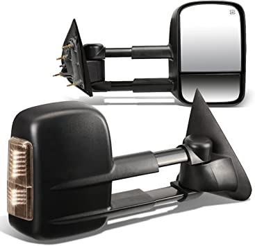 Pair Chrome Power Heated Telescoping Smoked LED Turn Signal Towing Mirrors Replacement for Silverado Sierra GMT900 07-14